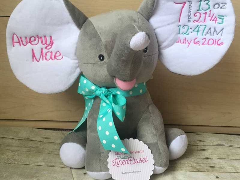 birth announcement elephant natalies linen closet